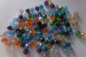 100 pcs Mixed AB Color Plated Round Glass Beads