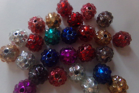 Mixed Color Resin Rhinestone Acrylic Beads 12mm