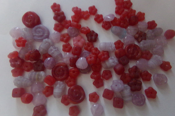 Czech Pressed Glass Beads Mix