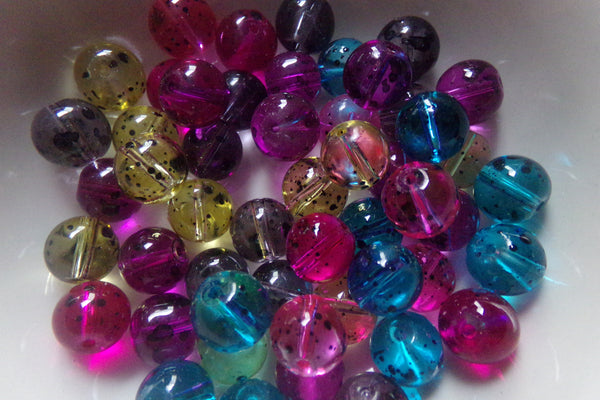 Mixed Black Spotted Glass Beads 10mm