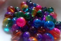 Mixed Two Tone Mottled Translucent Glass Beads 10mm