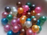 Mixed Opaque Glitterized Glass Beads 10mm
