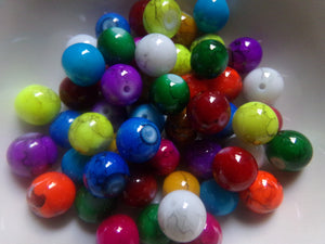 Mixed Color Mottled Glass Beads 10mm