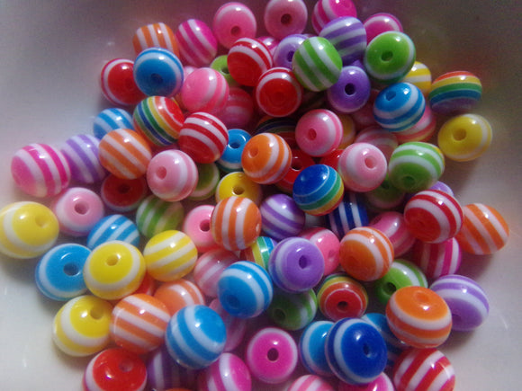 100 pc Mixed Striped Resin Beads 8mm