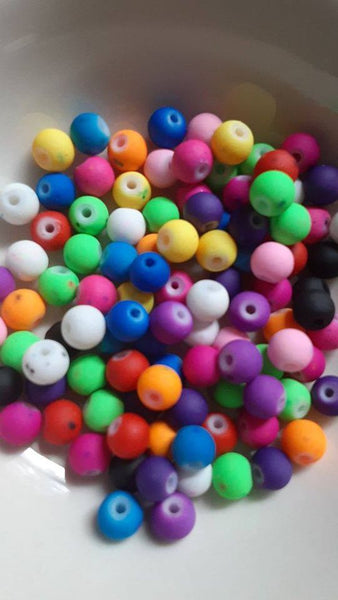 100 pc Mixed Rubberized Glass Beads 6mm