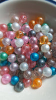100 pc Mixed Opaque Glitterized Glass Beads 8mm