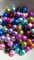100 pc Mixed Color Drizzle Glass Beads 8mm
