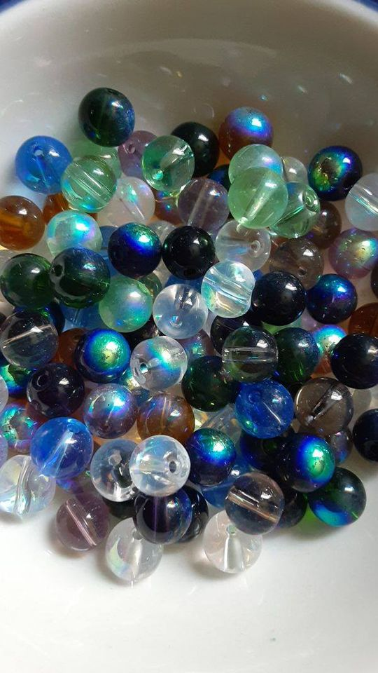 100 pc Mixed AB Plated Glass Beads 8mm