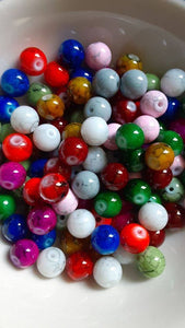 100 pc Mixed Mottled Glass Beads 8mm