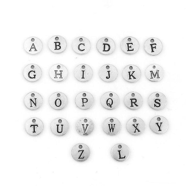 Alphabet Letter Charm Antique Silver Set