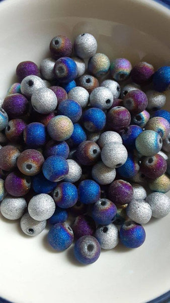 100 pc Mixed Stardust Glass Beads 8mm