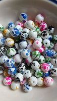 100 pc Mixed Splotted Glass Beads 8mm