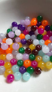 100 pc Mixed Color Glass Beads 6mm