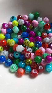 100 pc Mixed Mottled Glass Beads 6mm