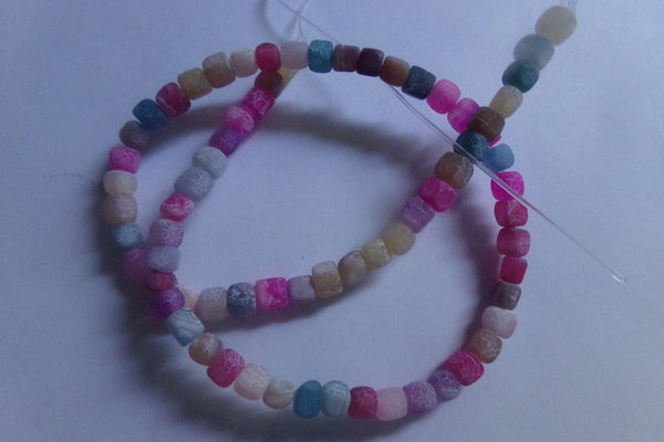 1 Strand Frosted Mixed Agate Cube Beads