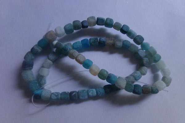 1 Strand Frosted Blue Agate Cube Beads