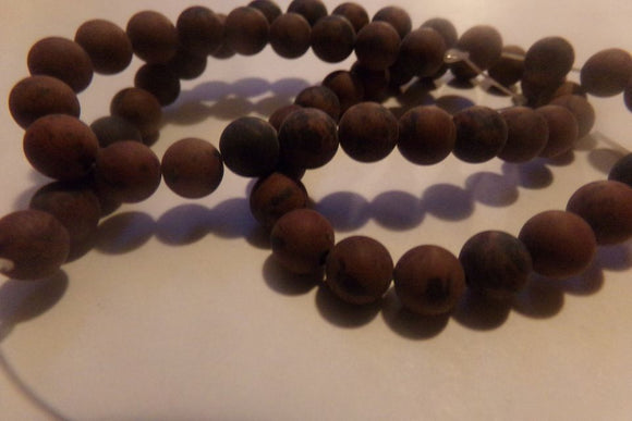 1 Strand Frosted Mahogany Obsidian Beads 6mm