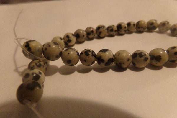 1 Strand Natural Dalmation Jasper Beads 6mm