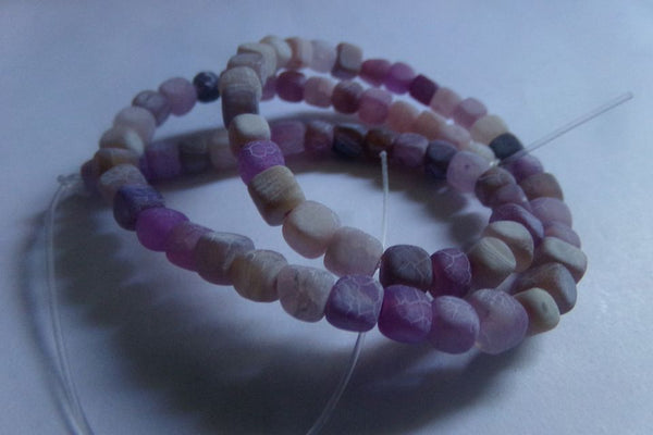 1 Strand Frosted Purple Agate Cube Beads