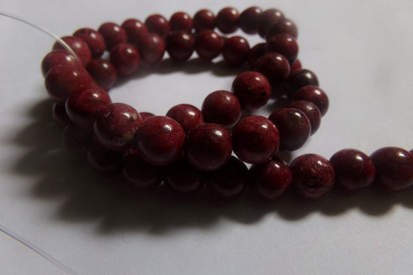 1 Strand Dark Red Crazy Agate Beads 8mm