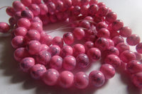 1 Strand Pink Mottled Glass Beads 6mm