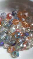 50 pc Mixed Stripe AB Glass Beads 10mm
