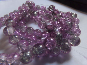 1 Strand Lilac/Grey Crackle Glass Beads 8mm