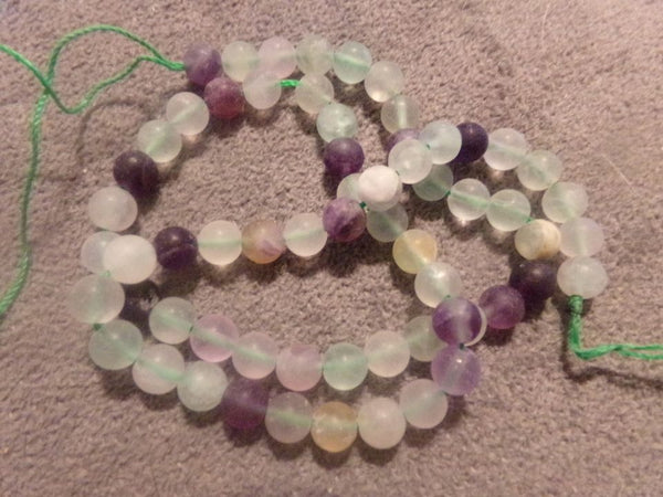1 Strand Frosted Fluorite Beads 6mm