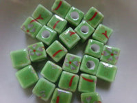 25 pc Green Floral Porcelain Beads