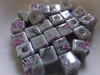 25 pc Floral Design Cube Porcelain Beads