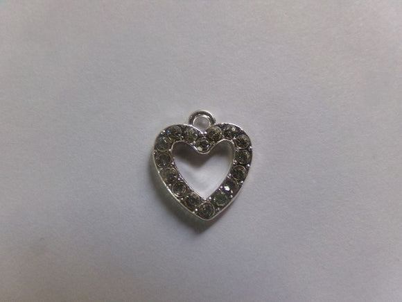 25 Pc Silver Plated w/Clear Rhinestone Heart Charms