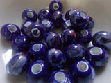 25 pc Blue Pearlized Rondelle Porcelain Beads