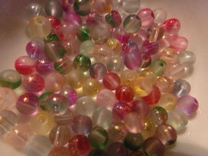 100 pc Mixed Color Glass Inside Foil Beads 6mm