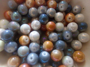100 pc Mixed Rainbow Plated Glass Beads 8mm