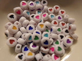 100 pc Mixed Color Heart Carved Acrylic Beads