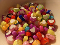 100 pc Mixed Color Heart Acrylic Beads