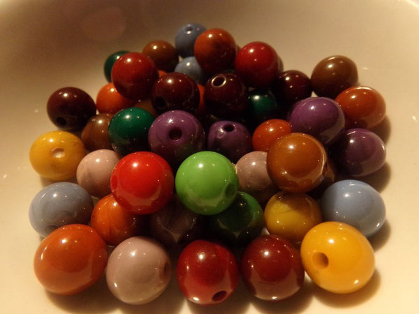 50 pc Mixed Round Acrylic Beads size 10mm