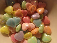 50 pc Mixed AB Color Heart Acrylic Beads