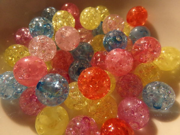 50 pc Mixed Color Crackle Acrylic Beads size 10mm