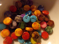 50 pc Mixed Color Splatter Flat Round Acrylic Beads