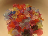 100 pc Mixed Frosted Color Flower Acrylic Beads