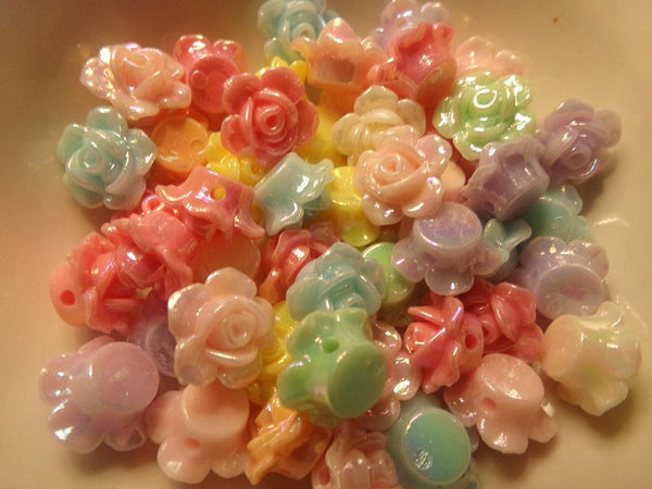 Mixed AB Opaque Acrylic Flower Beads