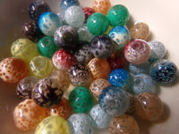 50 pc Mixed Color Speckled Glass Beads 10mm