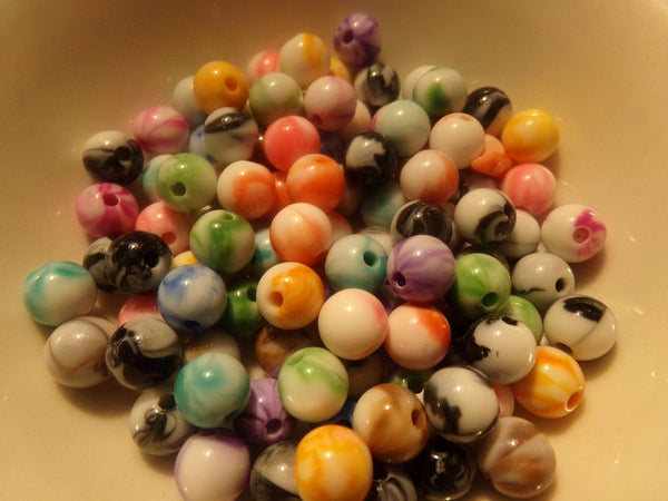 100 pc Mixed Color Acrylic Beads 8mm