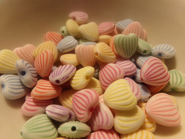 100 pc Mixed Striped Heart Acrylic Beads