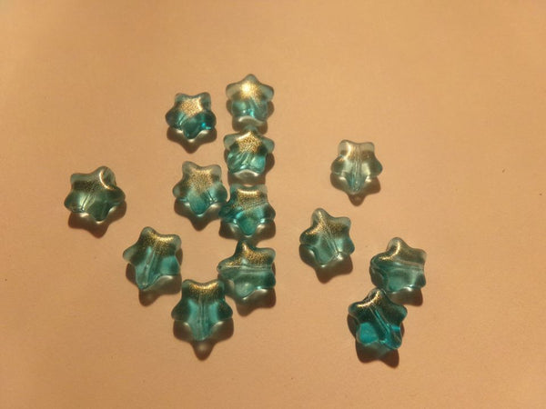 50 pc Turquoise Glitter Star Glass Beads