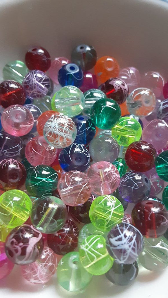 100 pc Mixed Scribble Glass Beads 8mm
