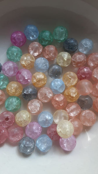 50 pc Mixed Pastel Cracked Glass Beads 8mm