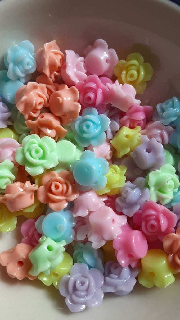 Mixed Opaque Acrylic Flower Beads