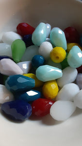 Mixed Color Faceted Teardrop Glass Beads